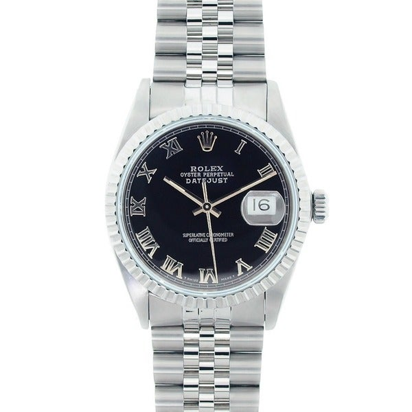 Pre-Owned Rolex Men's Datejust Stainless Steel Black Roman Dial Watch Model 16220