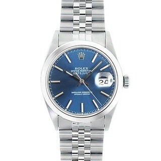 Pre-owned Rolex Men's Datejust Blue Dial Watch with Stainless Steel Bracelet