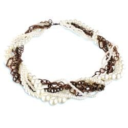 Coppertone Chain Faux Pearl Multi-strand Necklace - Thumbnail 1