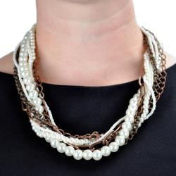 Coppertone Chain Faux Pearl Multi-strand Necklace - Thumbnail 2