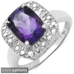 Malaika Sterling Silver Cushion-cut Prong-set Gemstone Ring