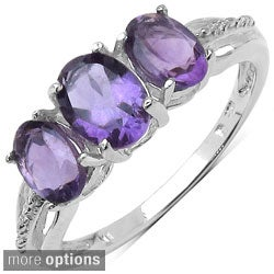 Malaika Sterling Silver Oval-cut Three-stone Prong-set Gemstone Ring