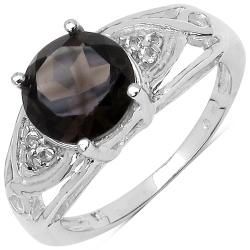 Malaika Genuine Smoky Topaz and White Topaz 1.74ct TGW Sterling Silver Ring