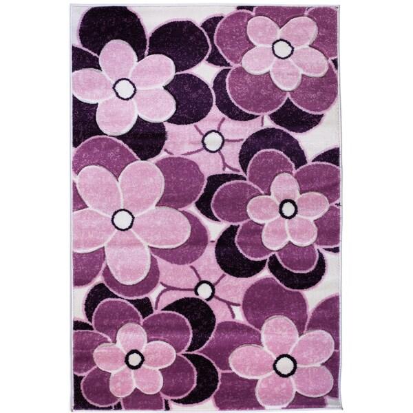 Harmony Flowers Purple Hand Carved Rug (7'10 x 9'10)
