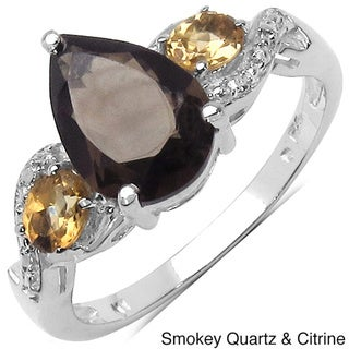 Malaika Sterling Silver Pear-cut Gemstone Ring