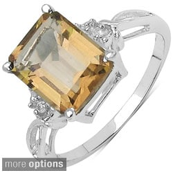 Malaika Sterling Silver Square-cut Prong-set Gemstone and White Topaz Ring