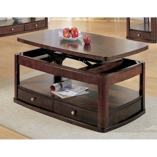 Dark Cherry 2-drawer Lift-top Cocktail Table