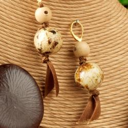 Handmade Laminated Quail Eggshell and Seed Necklace and Earring Set (Philippines) - Thumbnail 1