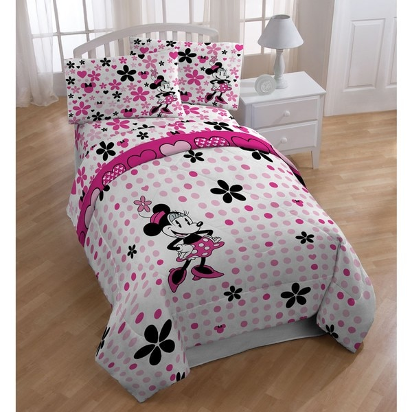 minnie mouse 39 falling dots 39 full size 5 piece bed in a bag with sheet set free shipping today. Black Bedroom Furniture Sets. Home Design Ideas