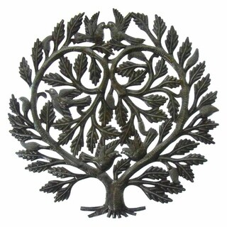 Handmade Recycled Steel Tree of Life 'Lover's Heart' Wall Art (Haiti)