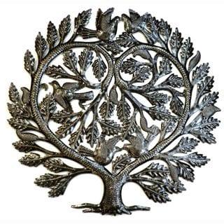 Handmade Recycled Steel Tree of Life 'Lover's Heart' Wall Art (Haiti)