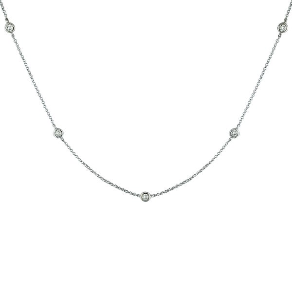 Miadora 14k White Gold 1/2ct TDW Diamond By-The-Yard Necklace