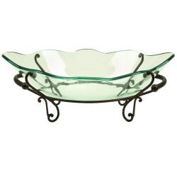 casa cortes milan centerpiece glass bowl with stand - Decorative Glass Bowls