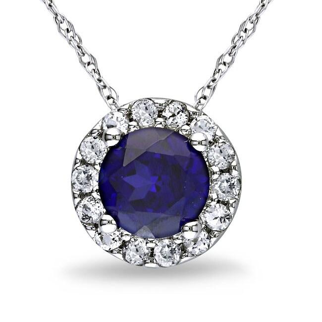 Miadora 10k White Gold 1 2/5ct TGW Multi-colored Gemstone Fashion Necklace