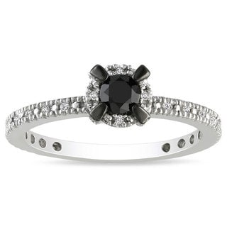 Miadora Sterling Sliver 1/3ct TDW Black and White Diamond Halo Ring