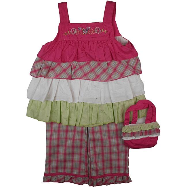 B.T. Kids Girl's Fuchsia Plaid Capri Pant Set