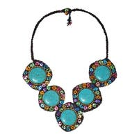 Handmade Striking Essence Turquoise and Mother of Pearl Necklace (Thailand)