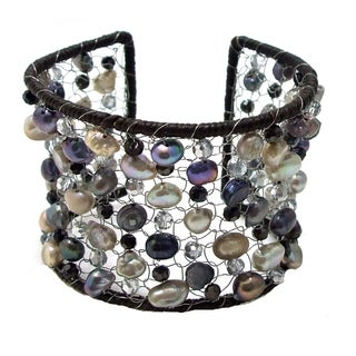 Freshwater Pearl and Crystal Mesh Cotton Cuff (5-10mm)(Thailand)