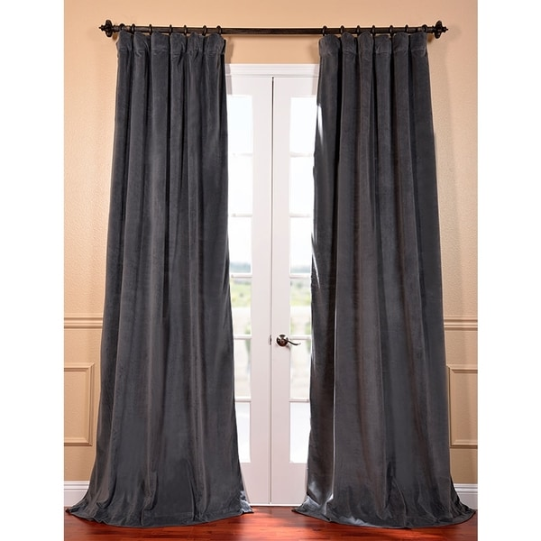 Exclusive Fabrics Natural Grey Velvet Blackout 96-Inch Curtain Panel