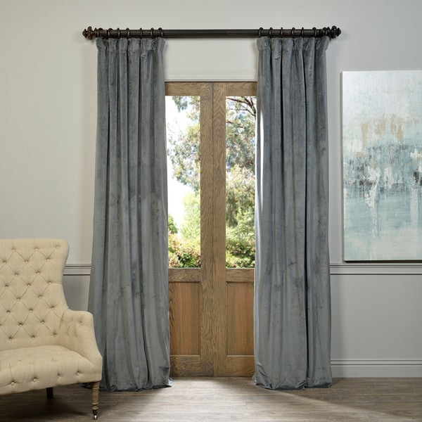Perfect Exclusive Fabrics Natural Grey Velvet Blackout Curtain Panel
