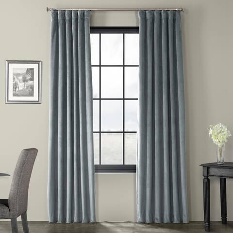 Exclusive Fabrics Natural Grey Velvet Blackout Curtain Panel
