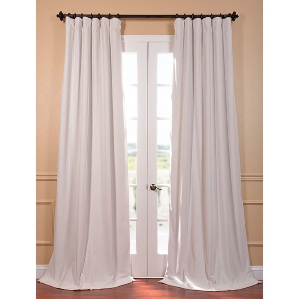 Exclusive Fabrics Signature Off White Velvet Blackout 108-Inch Curtain Panel