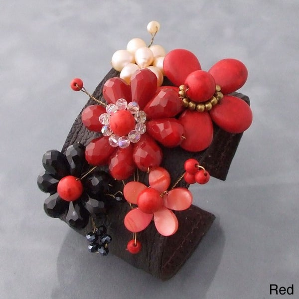Handmade Gemstone and Pearl Floral Blossom Leather Cuff Bracelet (5-8 mm)(Thailand)