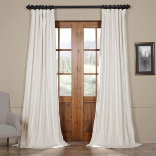 Exclusive Fabrics Signature Off White Velvet Blackout Curtain Panel