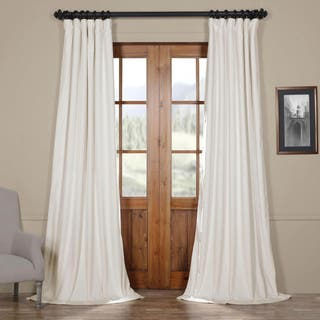 exclusive fabrics signature off white velvet blackout curtain panel - Formal Living Room Drapes