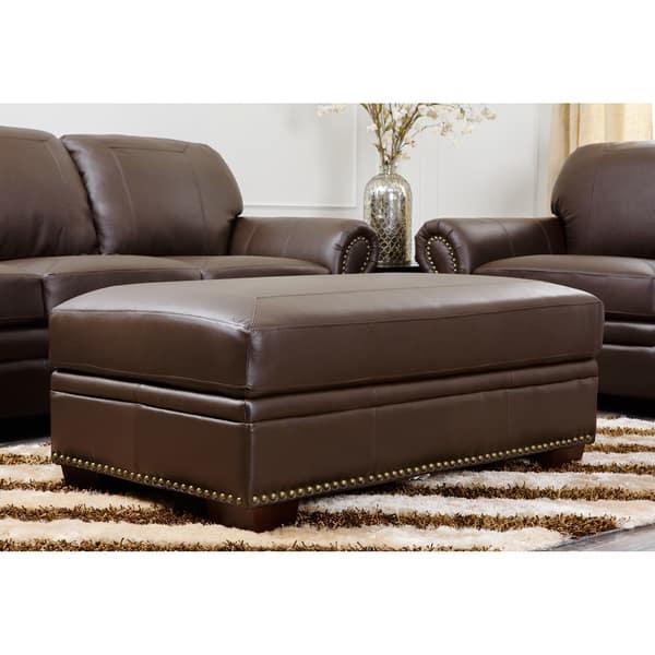 Astounding Abbyson Living Bentley Italian Leather Ottoman Storage Creativecarmelina Interior Chair Design Creativecarmelinacom