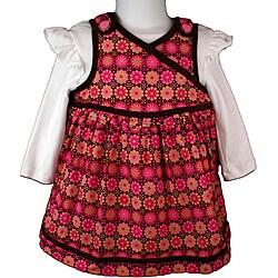 B. T. Kids Fuchsia Floral Print Jumper Dress