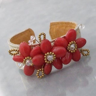 Gemstone and Crystal Genuine Leather Cuff (Thailand)