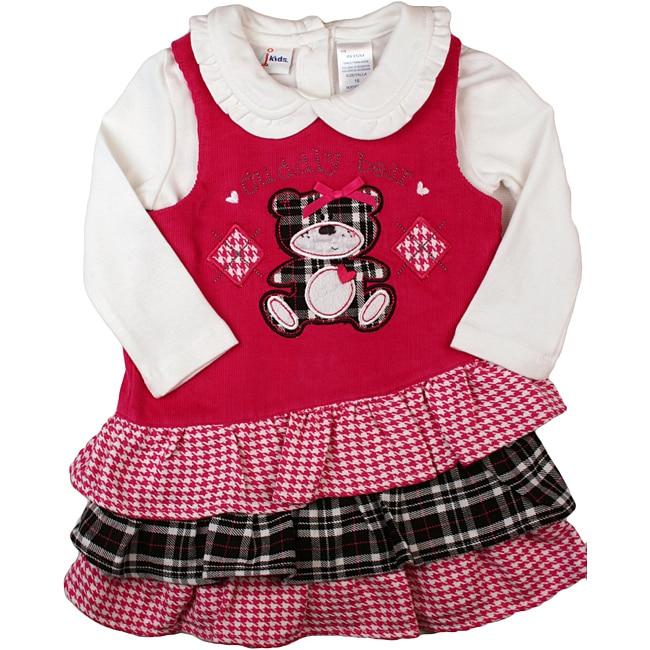 B.T. Kids Girl's Fuchsia Plaid Cuddly Bear' Jumper Dress