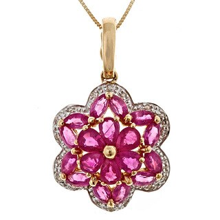 Anika and August 14k Yellow Gold Thai Ruby and Diamond Accent Necklace