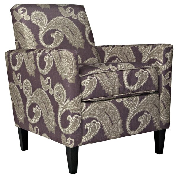 Handy Living Sutton Feathered Paisley Amethyst Purple Arm Chair