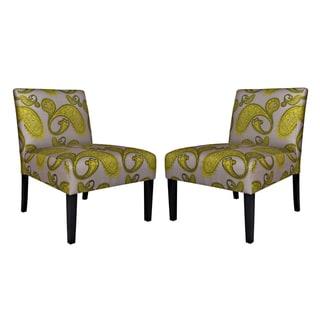 Handy Living Bradstreet Modern Lemongrass Paisley Upholstered Armless Chair (Set of 2)
