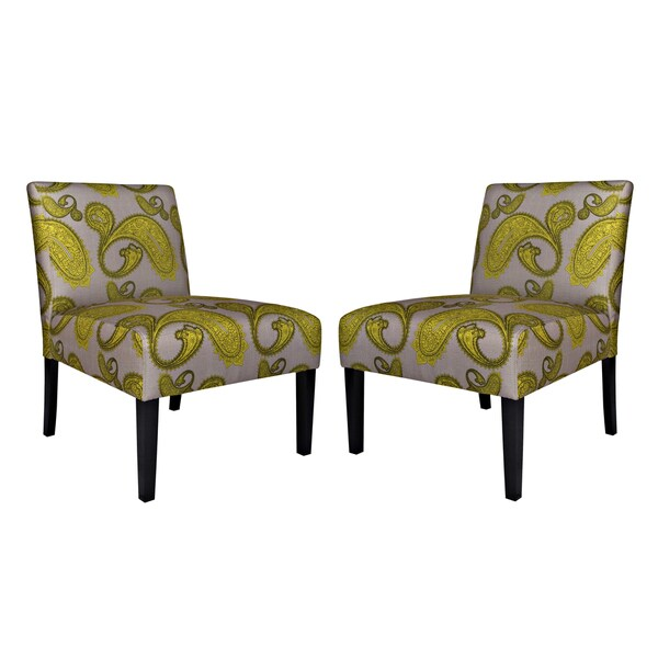 angelo:HOME Bradstreet Modern Lemongrass Paisley Upholstered Armless Chair (Set of 2)