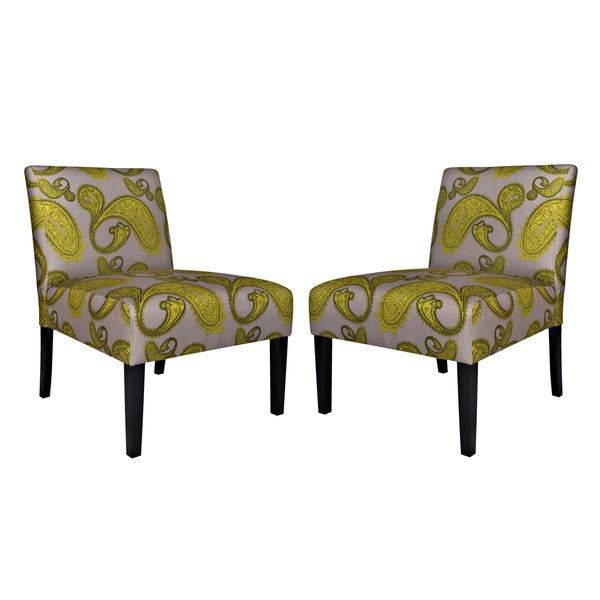Handy Living Bradstreet Modern Lemongrass Paisley Upholstered Armless Chair (Set of 2)