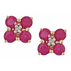 D'Yach 14k Yellow Gold Thai Ruby and Diamond Stud Earrings