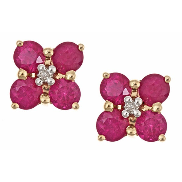 Anika And August 14k Yellow Gold Thai Ruby Diamond Stud Earrings