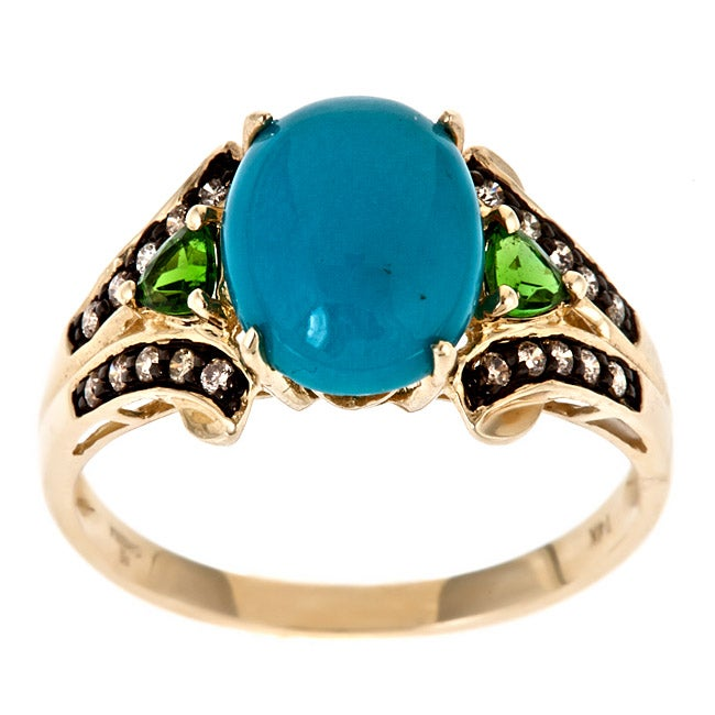 Anika and August 10k Yellow Gold Turquoise Ring with Chrome Diopsides and Brown Diamonds