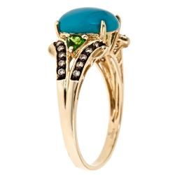 Anika and August 10k Yellow Gold Turquoise Ring with Chrome Diopsides and Brown Diamonds - Thumbnail 1