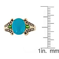 Anika and August 10k Yellow Gold Turquoise Ring with Chrome Diopsides and Brown Diamonds - Thumbnail 2