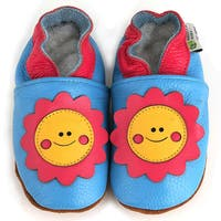 Smiley Flower Soft Sole Leather Baby Shoes