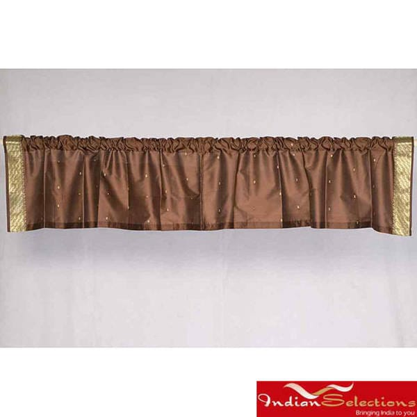 Brown Sari Fabric Decorative Valances (India) (Pack of 2)