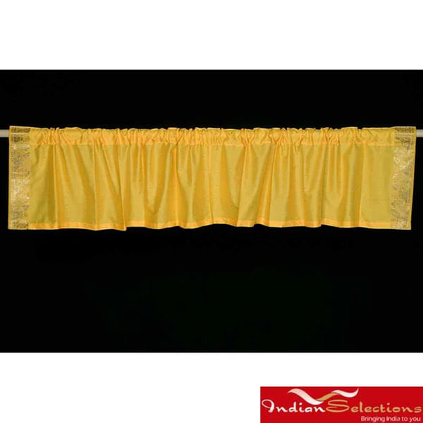 Yellow Sari Fabric Decorative Valances (India) (Pack of 2)