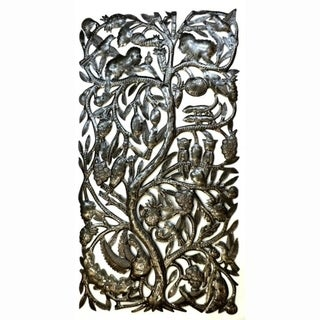 Handmade Recycled Steel 'Jungle Tree' Wall Art  (Haiti)