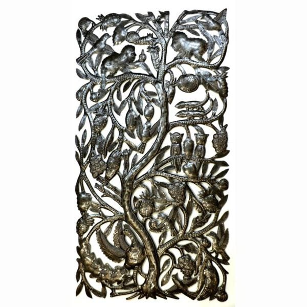 Recycled Steel 'Jungle Tree' Wall Art  , Handmade in Haiti