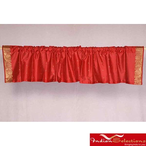 Red Sari Fabric Decorative Valances (India) (Pack of 2)