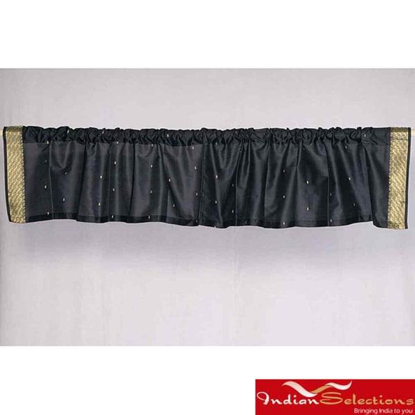 Black Sari Fabric Decorative Valances (India) (Pack of 2)